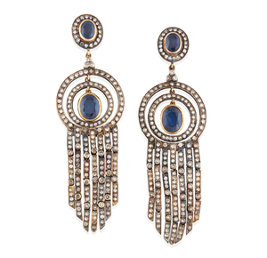 Lady's 14k Sapphire Diamond Earrings
