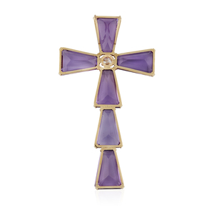 16k Gold Amethyst Diamond Cross Pendant
