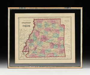 AN ANTIQUE TWO SIDED MAP,