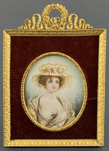 19th Century French Miniature in Ormolu Frame