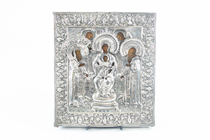 Russian Icon of Holy Family with Silver Overlay