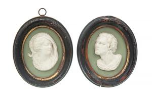 Two Wedgwood Green Jasper Portrait Plaques