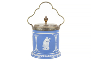 Wedgwood Blue and White Jasper Biscuit Jar
