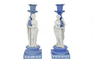 Pair of Wedgwood Figural Jasper Candlesticks