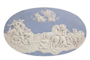 Blue Jasperware Plaque,