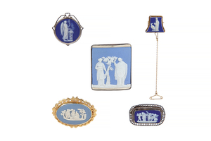 Eight Assorted Wedgwood Jasper Jewelry Items