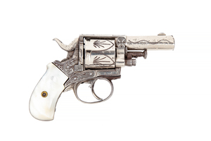 British Bulldog .38 Caliber Engraved and Nickel Plated Revolver with Mother of Pearl Grips