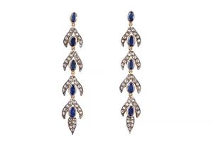 Sapphire Diamond 18k Necklace & Earrings