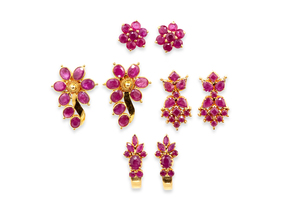 Assorted Ruby 22k Earrings