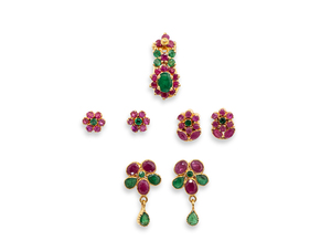 Assorted Emerald Ruby 22k Jewelry