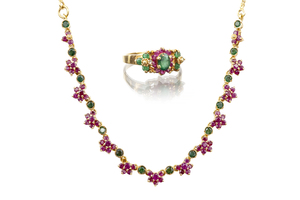 Emerald Ruby 22k Necklace & RIng
