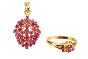 Ruby 22k Pendant & RIng