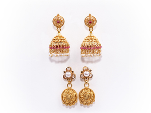 Pearl Ruby 22k Earrings