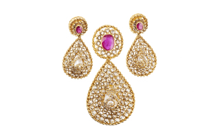Ruby Diamond 22k Earrings & Pendant