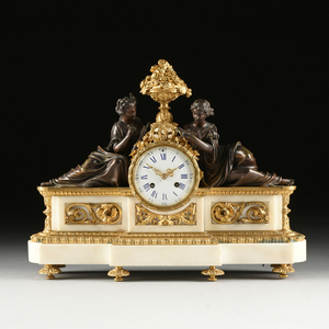 A LOUIS XVI STYLE GILT AND PATINATED BRONZE MOUNTED WHITE MARBLE MANTLE CLOCK, MID 19TH CENTURY,