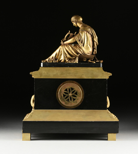 A NAPOLEON III GILT AND PATINATED BRONZE FIGURAL MANTLE CLOCK, BY GAUTIER, PARIS, THIRD QUARTER 19TH CENTURY,