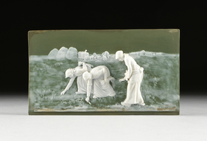 A GOEBEL WHITE ON SAGE GREEN JASPERWARE ART PLAQUE, GERMAN, MARKED, 1923-1949,
