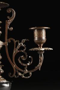 A PAIR OF BELLE EPOQUE BRONZE AND MARBLE THREE LIGHT CANDELABRA, CIRCA 1880,