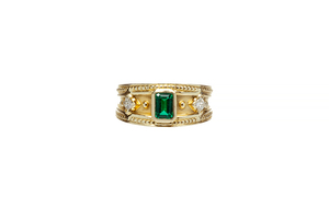 14k Synthetic Emerald & Diamond Ring