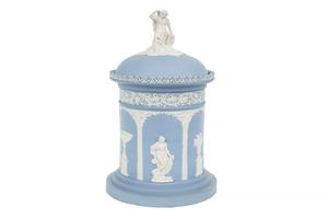 Wedgwood Blue Jasper Biscuit Jar & Cover