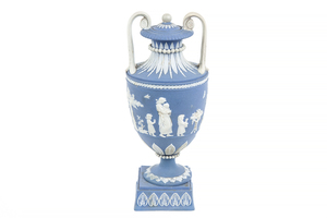 Wedgwood Small Covered Blue Jasper Vase