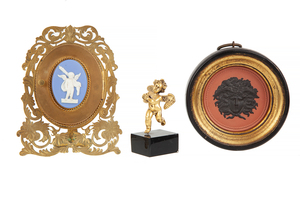 Blue Jasper Decorative Frame, Medusa Head Medallion and Gilt Putti