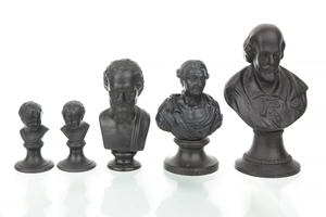 Five Wedgwood Small Basalt Male Portrait Busts