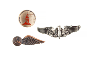 US Air Force flight wings, along with a US Distinguished Flying Cross