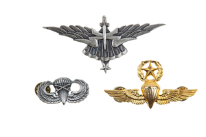US Paratroop Wings and Badges, as well as a few Glider wings, Pathfinder badges, and Airborne unit badges, all modern made