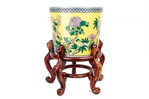 Asian Enamel Ceramic Pot on Stand