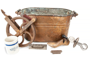 Vintage Copper Wash Tub and Kitchen Tools