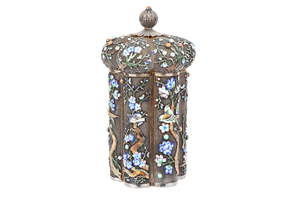 Chinese Silver Enameled Tea Caddy