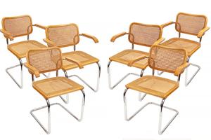 Six Marcel Breuer Designed Arm Chairs by Knoll International