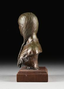 TOM MOSS (American/Texas b.1935) A BRONZE PORTRAIT BUST,