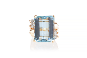Aquamarine & Diamond 14k Ring