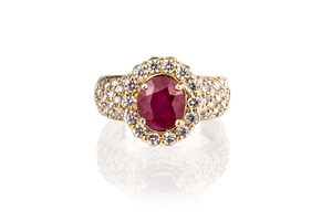 Ruby & Diamond 18k Ring
