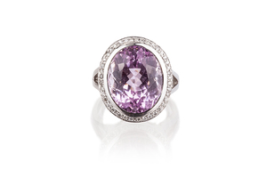 Kunzite & Diamond 18k RIng