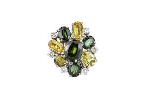 Green & Yellow Chrysoberyl & Diamond 18k Ring