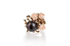 Dyed Black Pearl 14k Ring