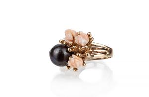 Dyed Black Pearl 14k Ring