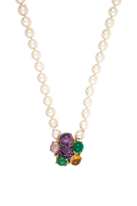 Pearl Necklace with Gemstone Clasp