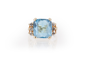 Blue Topaz Diamond 14k Ring