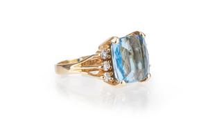 Blue Topaz Diamond 14k Ring
