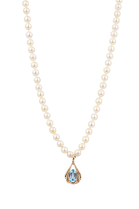 Pearl Necklace with Blue Topaz 14k Pendant