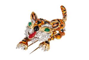 Diamond Enamel 18k Tiger Brooch