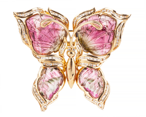 Tourmaline Diamond 14k Butterfly Brooch