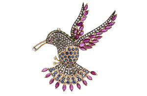 Ruby Sapphire Emerald Diamond 18k Bird Brooch