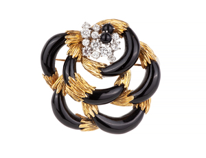 Black Jade Diamond 18k Brooch
