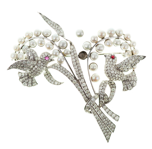 Ruby, Pearl, Diamond 18k Brooch