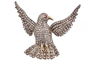 Diamond 18k Bird Brooch